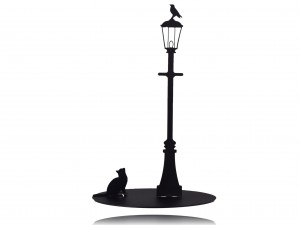 "Black paper towel holder, stand for paper towels ""CAT AND BIRD"" (1)"