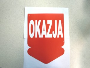 "Arrow plate ""OKAZJA"" (1)"